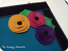 bulletin board with felt flowers