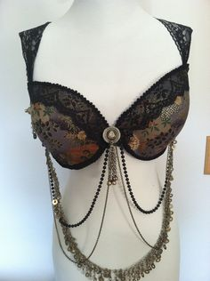 Custom Made to Order Tribal Fusion, Goth, BellyDance Bra. $100.00, via Etsy.