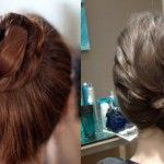I've had a couple requests on how to create the two updos above. Both were similarly constructed but one is high and somewhat clean, the other is low and intentionally messy. The process is incredibly simple. The hair is tied into knots and then wrapped into a bun. Get the full how-to after the