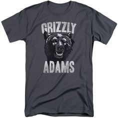 Grizzly Adams/Retro Bear Short Sleeve Adult T-Shirt Tall in Charcoal