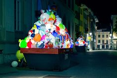 """""""In Winthertur, Switzerland, the Gewerbemuseum Museum asked residents to bring in plastic bags in exchange for museum admission. The most colorful bags were selected, filled with air and an installed light."""""""