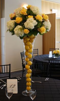 Image detail for -Table Centerpieces with Lemons & Flowers Lemon Centerpieces, Wedding Centerpieces, Wedding Decorations, Table Decorations, Deco Floral, Floral Design, Jeff Leatham, Lemon Flowers, Vase Arrangements