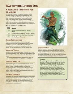 Post with 849 views. Way of the Living Ink Dungeons And Dragons Races, Dungeons And Dragons Classes, Dungeons And Dragons Homebrew, Dungeons And Dragons Characters, Dnd Characters, Female Characters, Ornate Tattoo, Monk Dnd, Dnd Races
