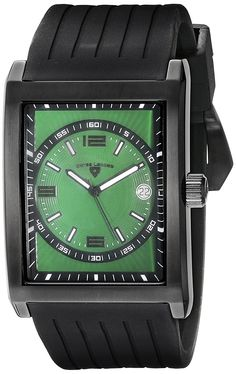 Swiss Legend Men's 40012-BB-08 Limousine Green Textured Dial Black Silicone Watch * Click image for more details.