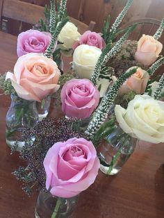 Flower arrangements I made for a wedding shower.
