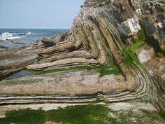 "Fold in the ""flysch"" south of Guéthary, Pays Basque, Southwestern France (Credit: @BaptisteGomb)"