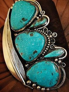 NATIVE-AMERICAN-TURQUOISE-LEATHER-BRACELET-135g-Sterling-Silver-CHAVEZ-4-5-034-wide