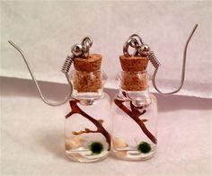 Mini Marimo Moss Ball Earrings by EnchantedOrbs on Etsy