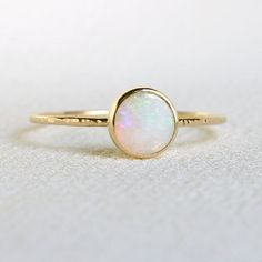 Natural AAA Opal Delicate 14k Ring - Solid 14k Yellow Gold Simple Stack Ring with a Genuine Fiery Australian White Opal - October Birthstone
