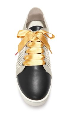 Printed Silk and Leather Sneakers by Twins For Peace - Moda Operandi