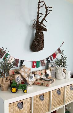 City Farmhouse Playroom Holiday Tour 2013- Twig Deer Head PB