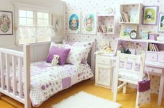 "Bedroom OOAK Diorama ""Lilac Reverie"" Blythe/Pullip/BJD/Pure Neemo/Lati/Pukifee/Yosd by MoonchildSilverdream on Etsy Vitrine Miniature, Miniature Rooms, Barbie Furniture, Dollhouse Furniture, Barbie Bedroom, Mini Doll House, Bedroom Accessories, Barbie House, Diy Dollhouse"