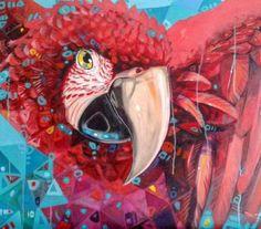 Renovando as cores, essa é uma das minhas pinturas favoritas.  ——————————–  Retouching the colors of the one of my favorite paintings  -  -  -  #acrylics #oncanvas #painting #scarletmacaw #araravermelha #arara #macaw #guacamaya #tropical #nature #natureza...