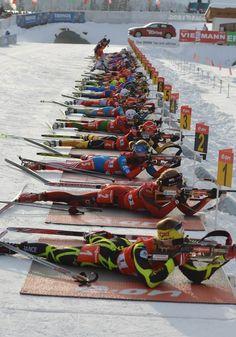 Women's 4x6 Biathlon World Cup in Hochfilzen, Austria.