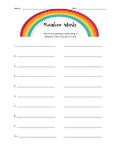 Spelling test paper 20 words spelling templates and words for Rainbow writing spelling words template