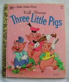 Three Little Pigs, Vintage Little Golden Book, Walt Disney, 1974