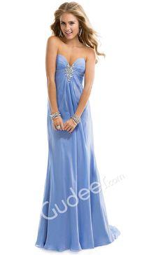 Prom Chiffon Deep Red Strapless Sweetheart A-line Dress