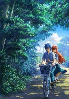 This pic reminds me of Whisper of the Heart, and Totoro (The bike ride from Whisper and the setting from Totoro)