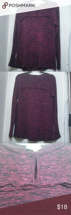 Keyhole cutout light knit Brand is M.S.S.P. (Max Studio Specialty Products). Color looks maroon from afar, but up close its more of a hot pink / magenta speckled with black. Keyhole cutout at the chest above the bust. Made of 60% polyester, 38% rayon, 2% spandex. Is stretchy, flowy, loose, and lightweight. The collar is a raw hem and there is a decorative raw hem across the chest but the bottom and cuffs are fully hemmed. One teeny tiny spot that looks like a hole was repaired and may need…