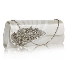 Wholesale Ivory Ruched Satin Clutch With Crystal Flower