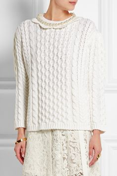Simone Rocha | Faux pearl-embellished cable-knit wool sweater | NET-A-PORTER.COM