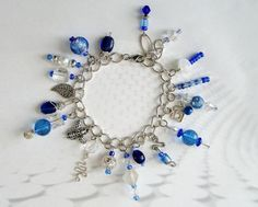 Silver and Blue Bracelet with Hand Made by ThePoppyShoppeLLC