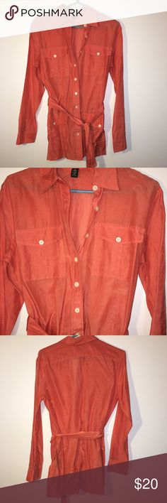 Lauren Ralph Lauren tunic button down blouse M In fantastic gently used condition! Orange salmon color! Lauren Ralph Lauren Tops Blouses