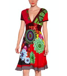 Desigual women's Oslo dress from the Fun range. A dress with a very colourful, classic Desigual cut and lots of embroidered and printed floral motifs. Cute Dresses, Casual Dresses, Summer Dresses, Summer Fashions, Versace, Fashion Fabric, Fashion Outfits, Womens Fashion, Dress Patterns