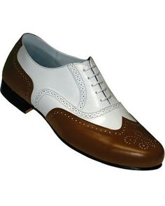 Aris Allen Men's Brown Leather Spat Styled Wingtip Dance Shoes - Leather Sole $79.95
