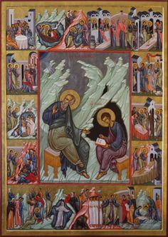 St John the Evangelist with St Prochorus by Maxim Sheshukov Byzantine Icons, Byzantine Art, Monastery Icons, St John The Evangelist, Vintage Holy Cards, Russian Icons, I Icon, Orthodox Icons, Sacred Art