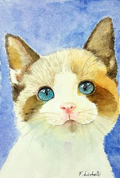 Gattino, cucciolo, acquerello originale, pezzo unico, idea regalo per battesimo e nascita, arte per la casa, arredo cameretta bimbini. #originalwatercolor #kittens #arte #dipinti #compleanno #sanvalentino #dipintomicetto #acquerelligatti http://etsy.me/2Ckibwj