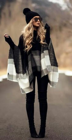 Black suede over the knee boots with pattern grey white poncho scarf and cute winter hat [outfit inspiration fashion style fall leggings]