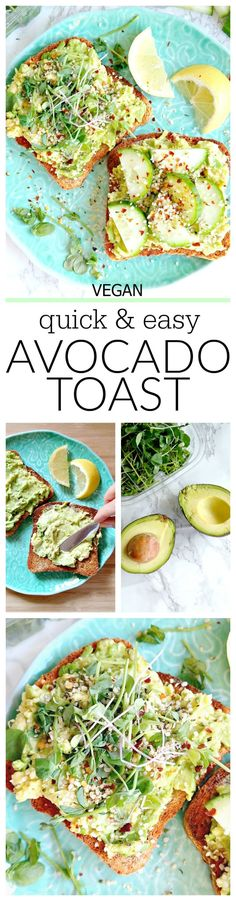 The easiest, dreamiest, toastiest 'Avocado Toast'. For a super quick, less than 5 minutes healthy vegan breakfast or snack (can be made with gluten free bread!). So nourishing and delicious with lots of topping/combination ideas! Keep it simple or make it fancy. #vegan #avocado #toast