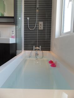 Large bath complete with pink ducks! Modern Classic, House, Monochrome Bathroom, Master Bathroom, Modern Monochrome, Color, Modern, Modern Bathroom, Bathroom