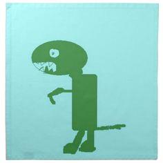 Dinosaur Dino, Green Blue Digital Kids Art Cloth Napkins