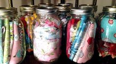 Farbic scraps in Mason Jars Quilting Charm packs