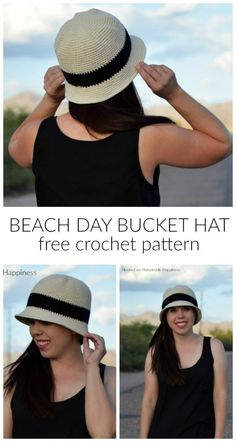 crochet hats The Beach Day Bucket Hat Crochet Pattern is the first pattern in this year's Crochet Along for a Cause! This hat pattern offers complete head coverage with extra length due t Crochet Hat With Brim, Crochet Summer Hats, Crochet Beanie, Knitted Hats, Crochet Hats, Summer Knitting, Crochet Stitches, Crochet Patterns, Sombrero A Crochet