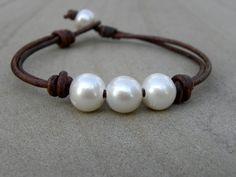 Perles et cuir brun chocolat noués Bracelet été Surfer Beach