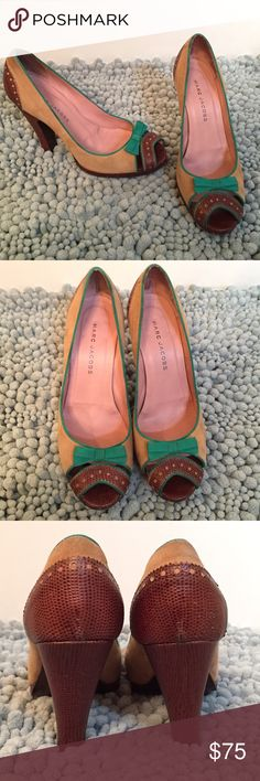 """Marc Jacobs peep-toe pumps So adorable!  Marc Jacobs peep-toe heels. 4.5"""" heels. Light scuffing on back of heel.  Size 39 1/2- US 8.5 Marc Jacobs Shoes Heels"""