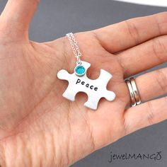 Personalized puzzle piece necklace Hand stamped by JewelMango, $22.20