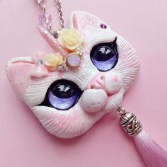 White  Unicorn Cat pendant by FleurDeLapin