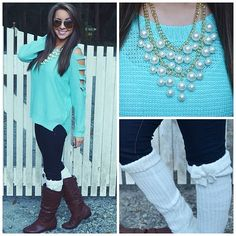 Cute. pearls.turquoise.cute boot socks with bow brown boots. so cute.winter