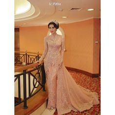 Image may contain: 1 person Kebaya Pink, Batik Kebaya, Wedding Gowns, Formal Dresses, Image, Instagram, Oriental, Design, Wedding Ideas