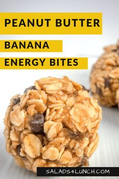 No bake peanut butter banana energy bites are soft, sweet, and the perfect little healthy snack to tide you over until your next meal! No baking required and made with just 6 healthy ingredients. Snacks desserts No bake peanut butter banana energy bites Peanut Butter Energy Bites, No Bake Energy Bites, Peanut Butter Banana, Healthy Energy Bites, Oatmeal Energy Bites, Vegan Energy Balls, Protein Bites, Healthy Protein Snacks, Healthy Recipes