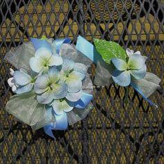 Cornflower Blue Artificial Hydrangea Wrist by FrenchiesStuff, $25.00