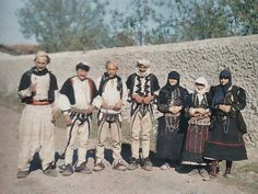Group of Catholics from  the Dukagjin area. Shkodra, 1913, 21 October. Photographer Auguste Leon. Albania and Kosovo in colour 1913.