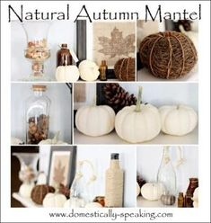 Natural Autumn Mantel with white pumpkins, pinecones and acorns by aftr