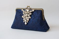 Navy Blue Lace clutch with Wristlet Chain / Cocktail by LeelaPurse