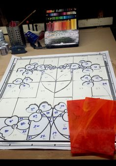Getting ready to start cutting glass for thePoppy Window.  rayoflightglass.com Prismacolor, Stained Glass Windows, Poppy, Pattern Design, Glass Art, Gift Wrapping, Texture, Etsy, Gift Wrapping Paper