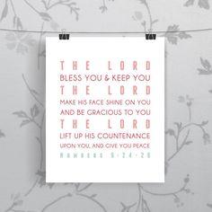 Bible Verse Art    Numbers 62426  Scripture by BranchAndVinePrints, $14.00
